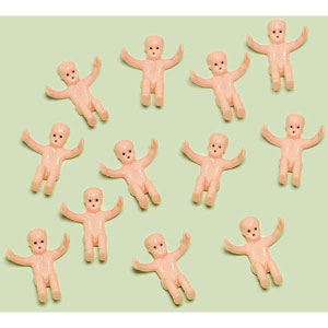 creepy plastic babies party favors