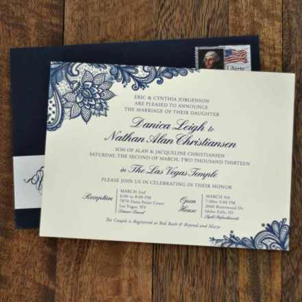 navy blue lace wedding invitation