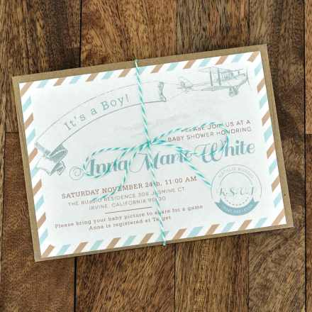 vintage style baby shower invite for a boy with airplane
