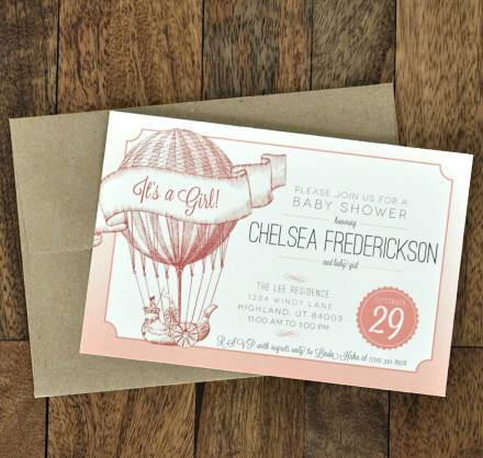 vintage style baby shower invitation with hot air balloon