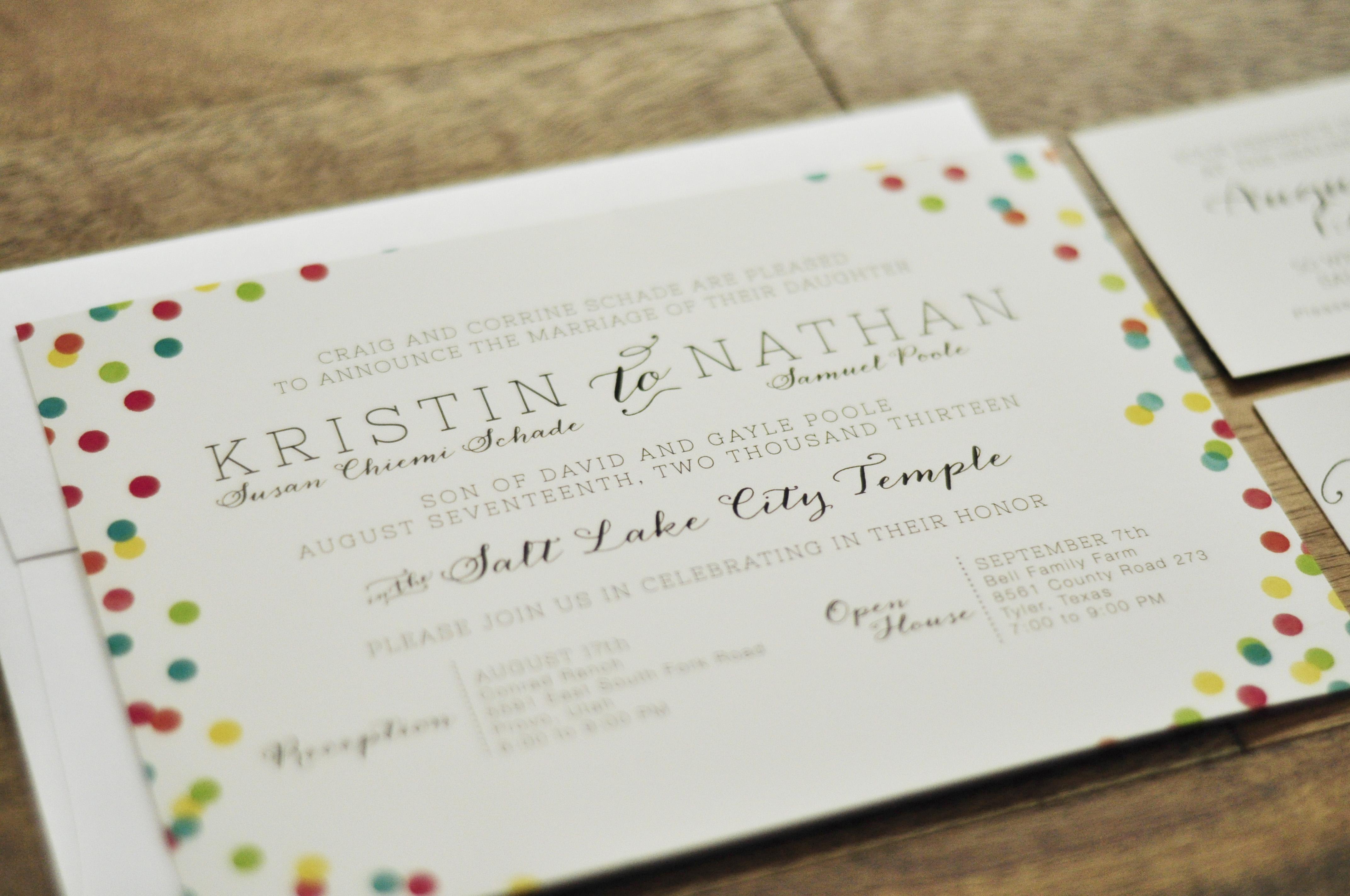 Confetti wedding invitation right west confettiweddinginvitationcloseup monicamarmolfo Images