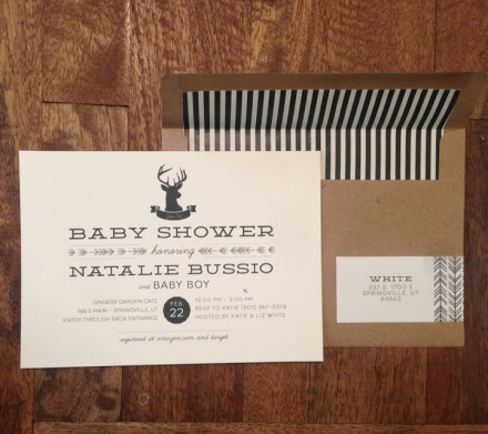 Deer, camping themed baby shower invitation