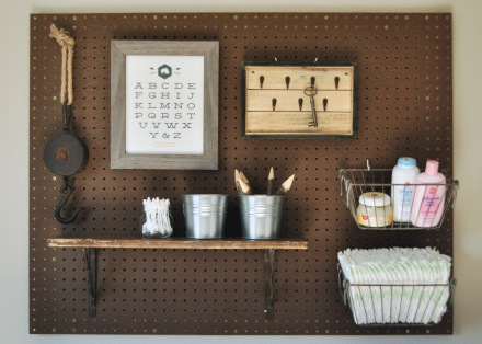 Rustic baby nursery peg board