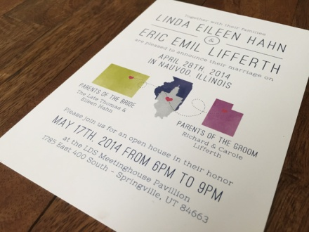 state shapes outline wedding invitation