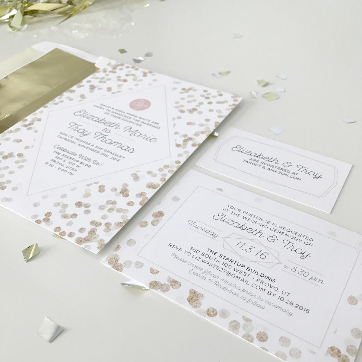 Classy Confetti Wedding Invitation | right & west